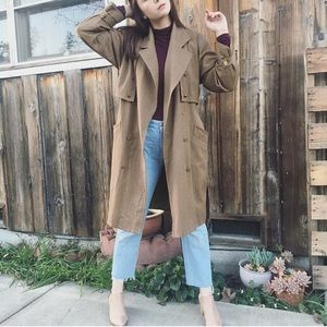Vintage wool & rayon draped oversized trench coat